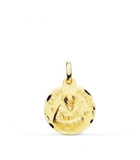 Medalla Saint Benoit Oro 18k 16mm Tallada grabado comunion personalizada joya