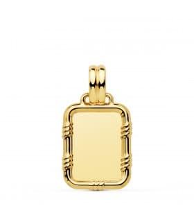 Colgante chapa lisa en oro de 18 kilates. Placa para grabado personalizado de foto o joya con frase