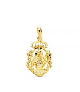 Colgante Medalla Virgen de la Cabeza Oro 18k 21mm Cerco virgen regional Andujar