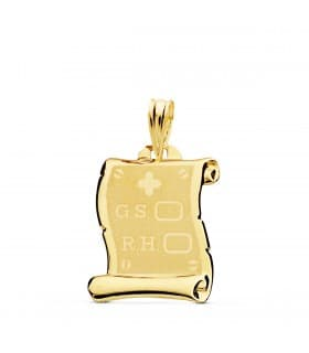 Pergamino RH placa colgante oro 18k grabado personalizado joya chapa texto