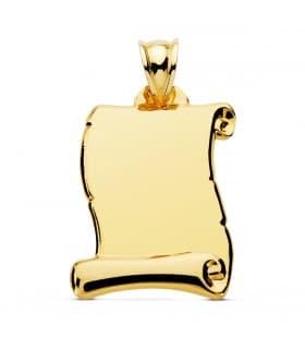 Pergamino liso chapa colgante oro 18 kilates joya personalizada placa grande