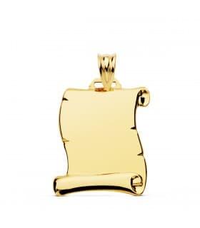Colgante pergamino oro amarillo 18 kilates 26mm Joya personalizada grabado chapa