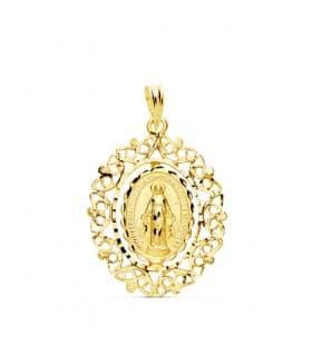 Medalla religiosa Virgen Milagrosa Cerco Oro 18K 27 mm colgante mujer