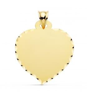 Chapa Colgante Corazón Oro 18K 28 mm placa personalizada grabado foto