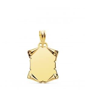 Placa Pergamino Liso Oro Amarillo 18K 18 MM regalo romantico san valentin amor