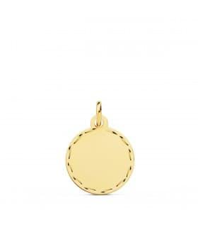 Chapa Redonda Oro 18K 14 MM Tallada Colgante disco joya personalizada