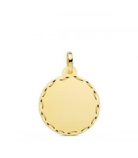 Chapa Redonda Oro 18K 18 MM Tallada Colgante disco personalizado joya san valentin