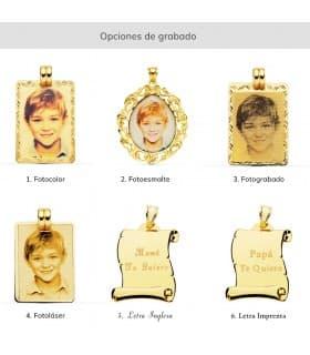 Chapa Redonda Oro 18K 18mm Hélice colgante disco grabado personalizado joya madre padre san valentin