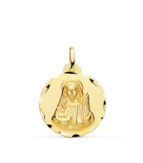 Medalla religiosa Santa Lucía Oro 18 K 22 MM Tallada joya personalizada medalla con grabado