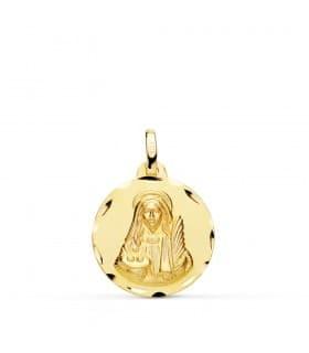 Medalla religiosa Santa Lucía Oro 18k colgante personalizado