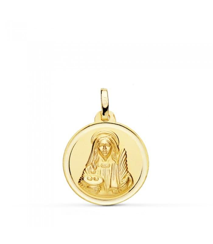 Medalla Santa Lucía 18mm colgante medallas religiosas personalizadas grabado