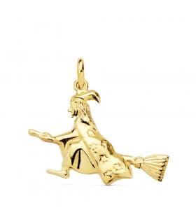 Colgante para mujer bruja de la suerte Oro Amarillo 18K 22mm amuleto joyas modernas