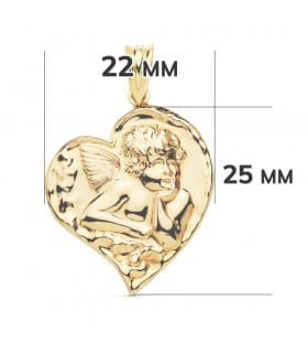 Medalla Corazón Ángel Oro Amarillo 18k 25mm colgante amor cupido