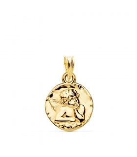 Medalla Redonda Ángel Oro Amarillo 18k 14 mm joya personalizada grabado joyeria online