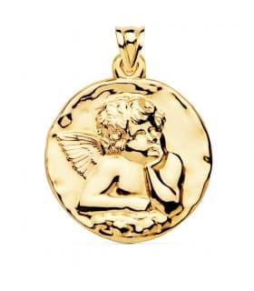 Medalla Redonda Ángel Oro Amarillo 18k 40 mm