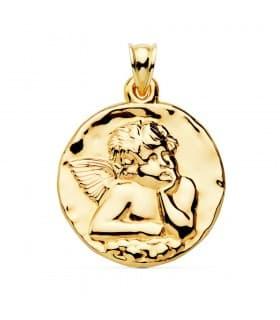 Medalla Redonda Ángel Oro Amarillo 18k 35 mm grabado frase