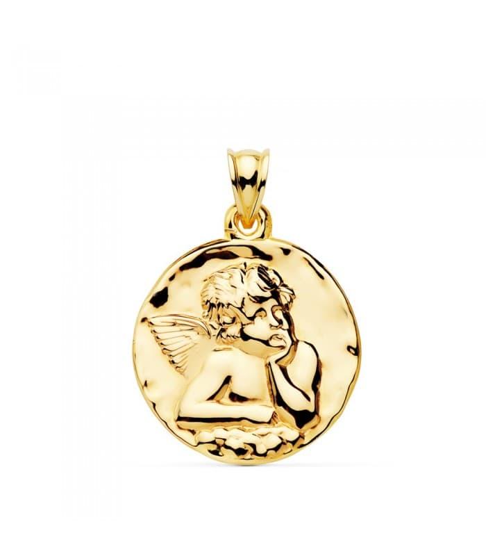 Medalla Redonda Ángel Oro Amarillo 18k 24 mm grabado joya personalizada joyeria online