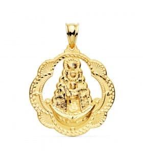 Medalla religiosa Virgen del Rocío Hermandad Oro Amarillo 18k 35 mm Cerco