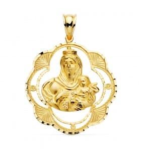 Medalla religiosa Virgen Carmen Oro Amarillo 18k 38 mm Cerco