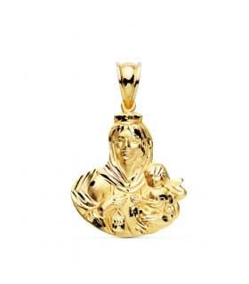 Medalla Religiosa Virgen del Carmen Oro Amarillo 18k 24 mm Silueta