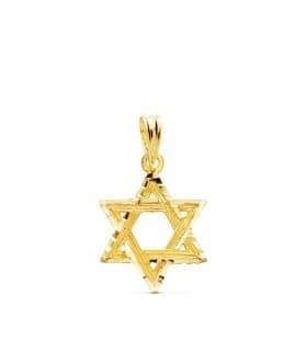 Colgante Estrella de David Oro Amarillo 18k 15 mm simbolo judío