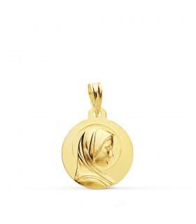 Medalla Virgen María Francesa Oro 18k 16mm colgante religioso joyas personalizadas grabado Comunión Niña