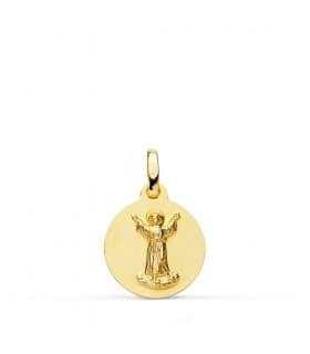 Medalla bebé bautizo Divino Niño Jesús Oro 18k 14 mm