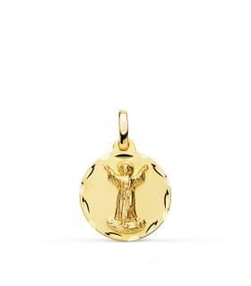 Medalla religiosa Divino Niño Jesús Oro 18k 16 mm joya bebé bautizo