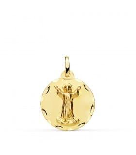 Medalla religiosa Divino Niño Jesús Oro 18k 18 mm joya bebe personalizada grabado bautizo nacimiento nombre