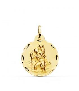 Medalla religiosa San Cristóbal Oro amarillo 18K 22 mm Tallada tamaño grande