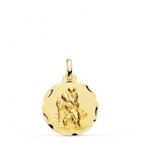 Medalla San Cristóbal Oro 18K 18mm Tallada
