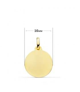 Medalla Virgen de Lourdes Oro amarillo 18 Kilates 16mm Bisel Francia