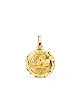 Medalla Bautismo Cristiano Oro 18k 16mm