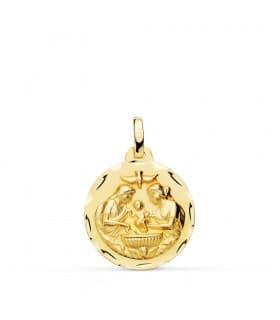 Medalla Infantil Bautismo Oro 18 K 18 MM regalos bebé bautizo nacimiento joya personalizada grabado nombre