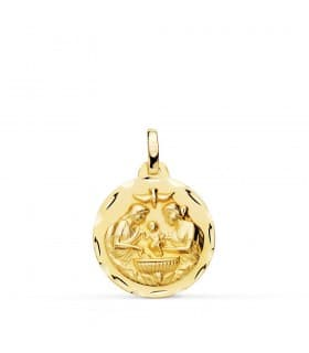 Medalla Infantil Bautismo Oro 18 K 18 MM