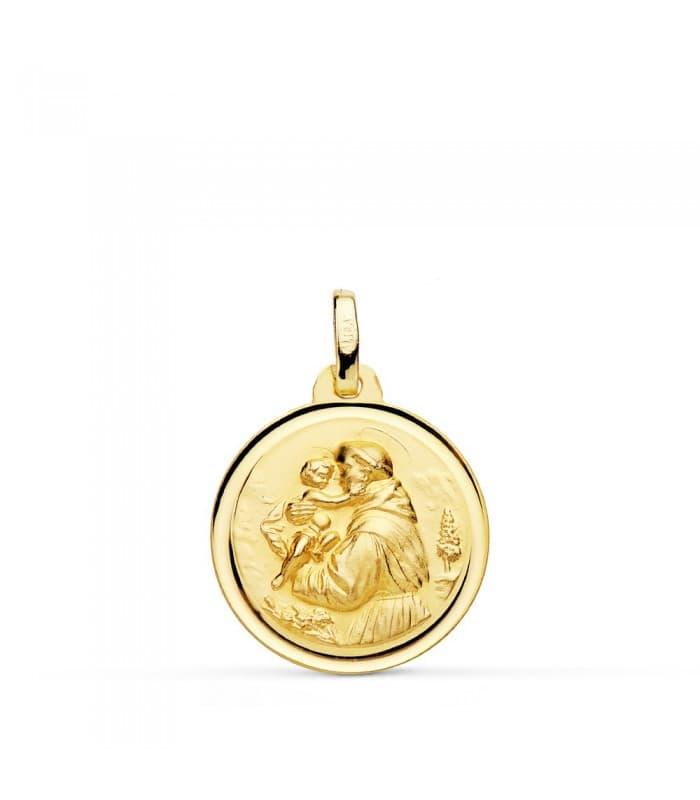 Medalla Religiosa Católica San Antonio Oro 18K 18mm Bisel bendición