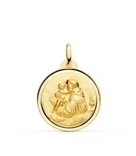 Medalla religiosa catolica San Antonio Oro 18K 22mm Bisel bendicion oracion