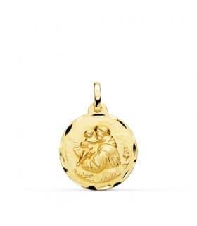 Medalla San Antonio Oro 18K 18mm Tallada