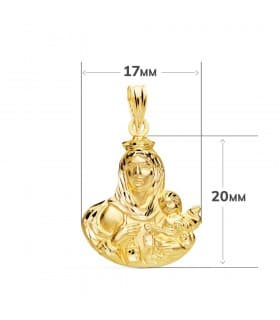 Medalla religiosa Virgen del Carmen Oro Amarillo 18k 20 mm Silueta joya personalizada grabado