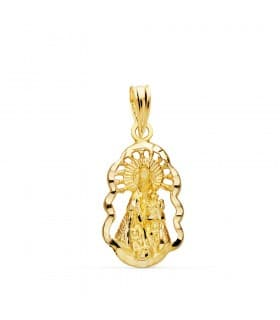 Medalla religiosa Virgen Desamparados Oro 18k 18 mm Cerco Colgante comunión niña
