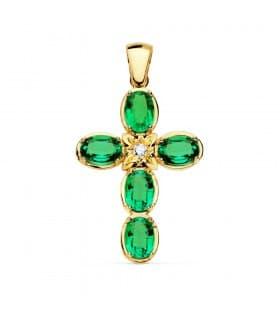 Colgante para Mujer Cruz Oro 18K 30mm Esmeraldas y Diamante 0.065 Qt. Boda Novia