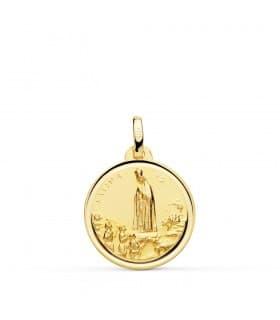 Medalla religiosa Virgen de Fátima oro 18 Ktes 18 mm Comunion niña grabado