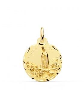 Medalla Virgen de Fátima Medalla religiosa Virgen oro amarillo 18 Kilates Joya personalizada Mujer Comunion niña grabado