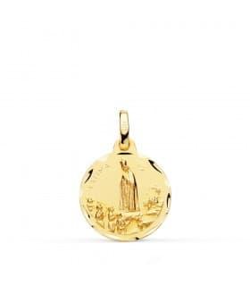 Colgante Virgen de Fátima Medalla religiosa Virgen oro amarillo 18 Kilates Joya personalizada Mujer Comunion niña grabado