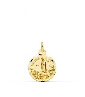 Medalla Religiosa Católica Virgen de Fátima Oro 18K 14mm Colgante Joya personalizada grabado nombre fecha comunión niña