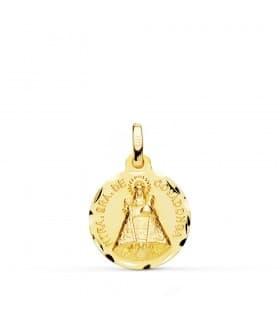 Medalla Virgen de Covadonga 18 Ktes 16 mm personalizar joya grabado