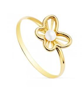 Sortija joyas niña Comunión Chloe Oro 18 Kilates Mariposa juego conjunto perlas anillos modernos