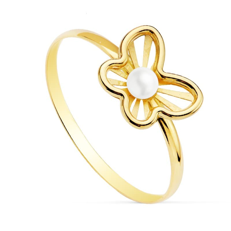 32b94cd56eb0 Sortija joyas niña Comunión Chloe Oro 18 Kilates Mariposa juego conjunto  perlas anillos modernos