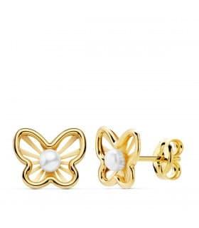 Pendientes modernos niña primera Comunión Chloe Oro 18K Mariposa juego joyas conjunto perlas cierre presión pequeños baratos