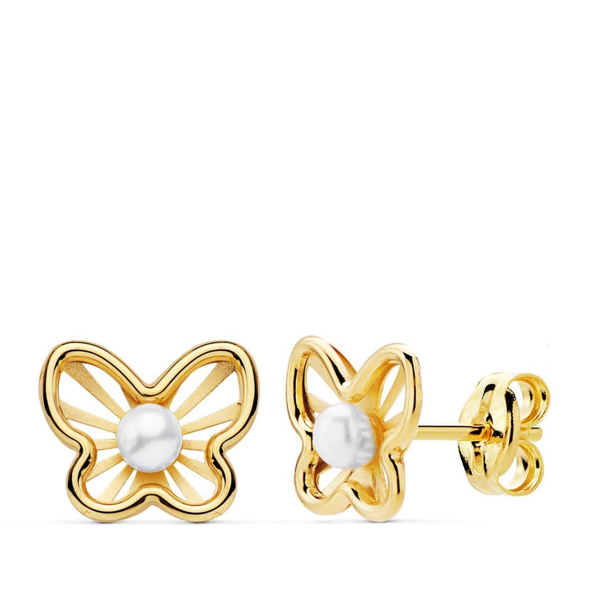 4b76e7d3299f Pendientes modernos niña primera Comunión Chloe Oro 18K Mariposa juego joyas  conjunto perlas cierre presión pequeños